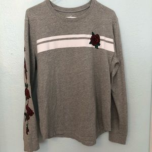 Hollister Rose Pattern Long Sleeve Easy T